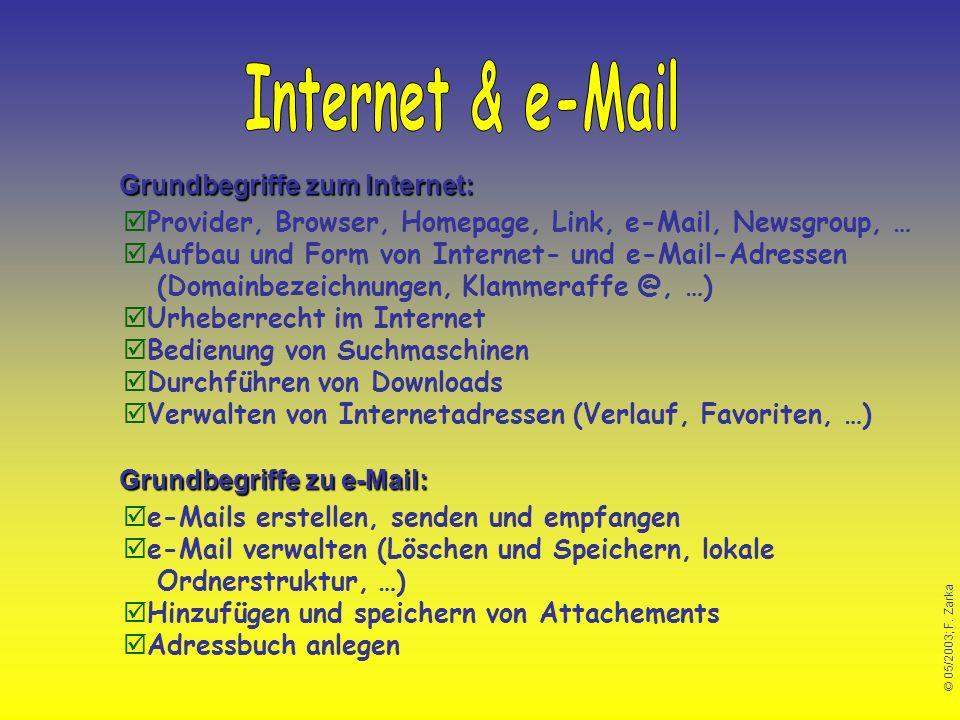 © 05/2003; F. Zarka Grundbegriffe zu e-Mail: Grundbegriffe zum Internet: Provider, Browser, Homepage, Link, e-Mail, Newsgroup, … Aufbau und Form von I