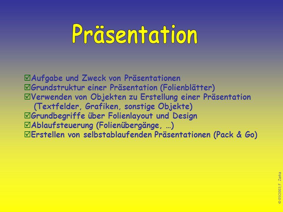© 05/2003; F. Zarka Aufgabe und Zweck von Präsentationen Grundstruktur einer Präsentation (Folienblätter) Verwenden von Objekten zu Erstellung einer P