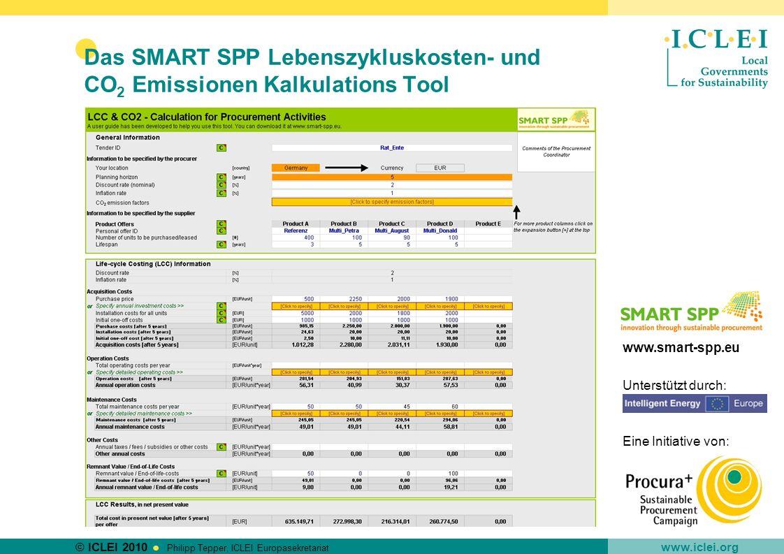 © ICLEI 2010 www.iclei.org Philipp Tepper, ICLEI Europasekretariat Das SMART SPP Lebenszykluskosten- und CO 2 Emissionen Kalkulations Tool www.smart-s