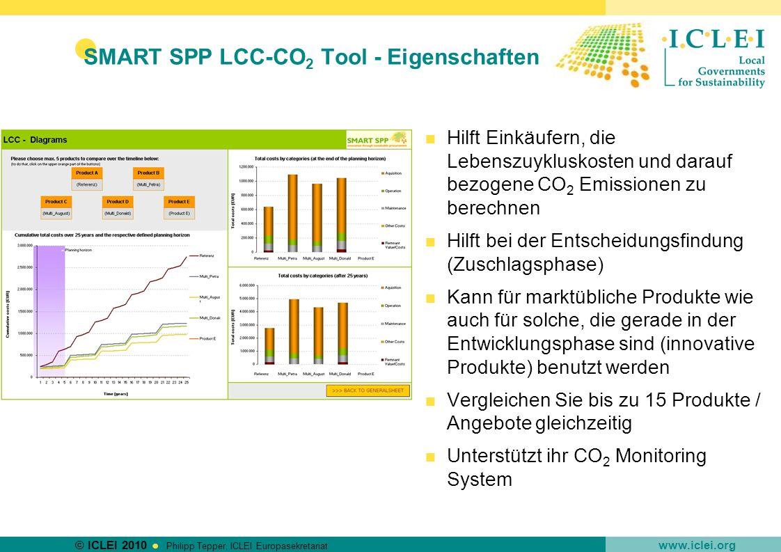© ICLEI 2010 www.iclei.org Philipp Tepper, ICLEI Europasekretariat SMART SPP LCC-CO 2 Tool - Eigenschaften Hilft Einkäufern, die Lebenszuykluskosten u