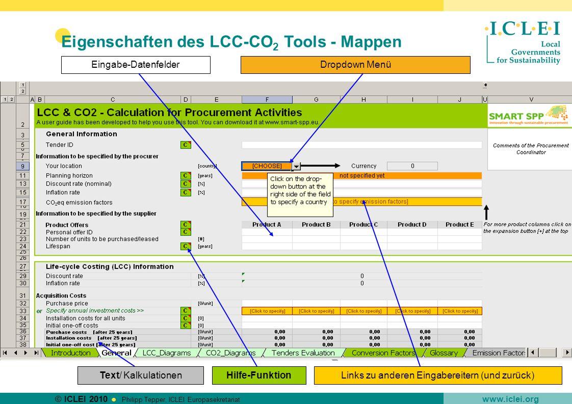 © ICLEI 2010 www.iclei.org Philipp Tepper, ICLEI Europasekretariat Hilfe-Funktion Eingabe-DatenfelderDropdown Menü Links zu anderen Eingabereitern (un