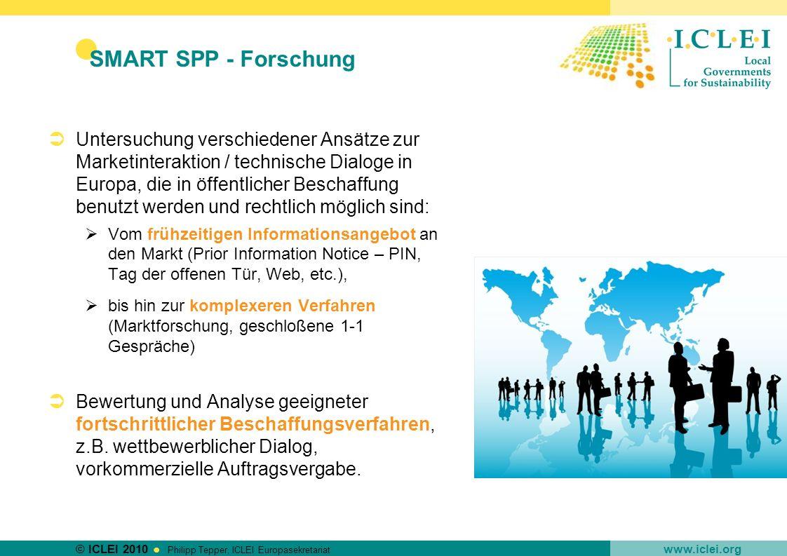 © ICLEI 2010 www.iclei.org Philipp Tepper, ICLEI Europasekretariat SMART SPP - Forschung Untersuchung verschiedener Ansätze zur Marketinteraktion / te