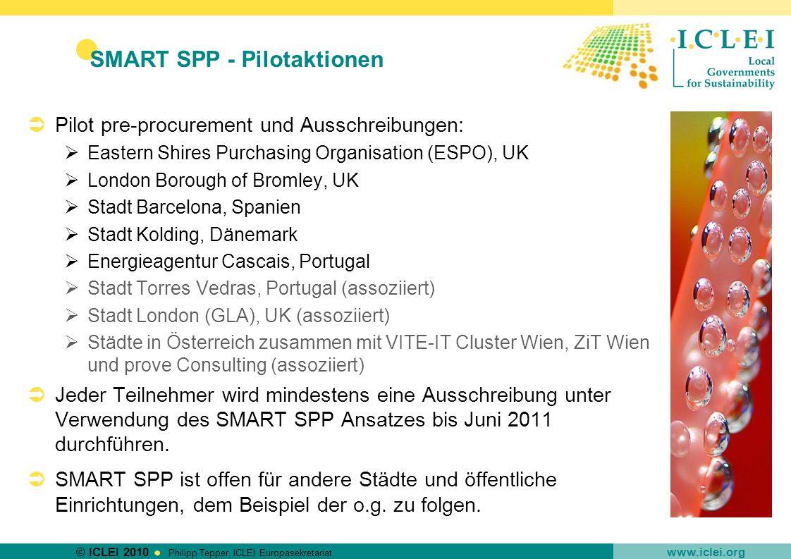 © ICLEI 2010 www.iclei.org Philipp Tepper, ICLEI Europasekretariat SMART SPP - Pilotaktionen Pilot pre-procurement und Ausschreibungen: Eastern Shires