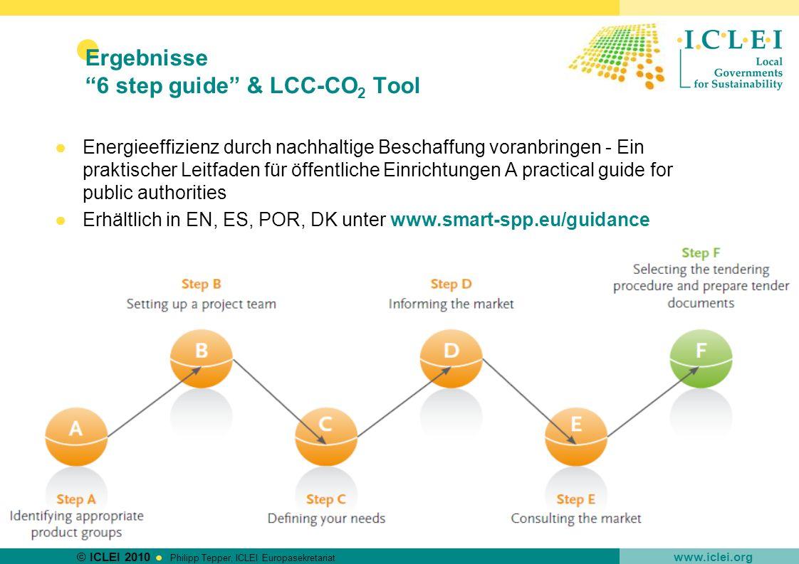 © ICLEI 2010 www.iclei.org Philipp Tepper, ICLEI Europasekretariat Ergebnisse 6 step guide & LCC-CO 2 Tool Energieeffizienz durch nachhaltige Beschaff
