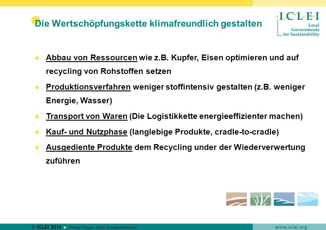 © ICLEI 2010 www.iclei.org Philipp Tepper, ICLEI Europasekretariat Die Wertschöpfungskette klimafreundlich gestalten Abbau von Ressourcen wie z.B. Kup