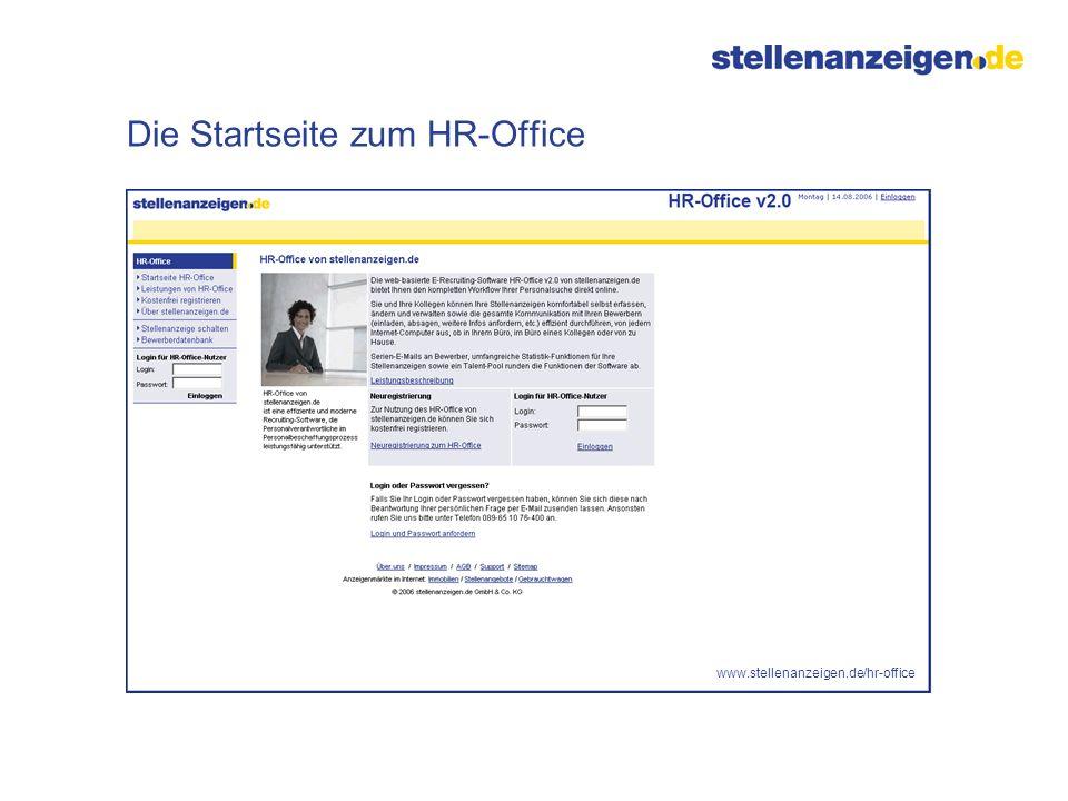 Die Startseite zum HR-Office www.stellenanzeigen.de/hr-office