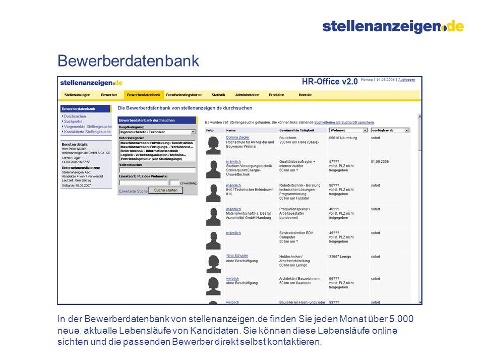 In der Bewerberdatenbank von stellenanzeigen.de finden Sie jeden Monat über 5.000 neue, aktuelle Lebensläufe von Kandidaten. Sie können diese Lebenslä