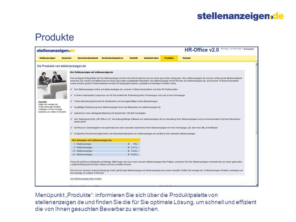 Menüpunkt Produkte: informieren Sie sich über die Produktpalette von stellenanzeigen.de und finden Sie die für Sie optimale Lösung, um schnell und eff
