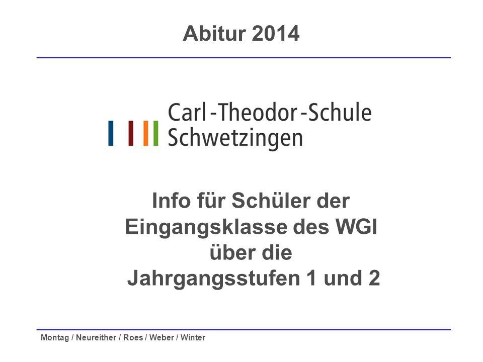 Montag / Neureither / Roes / Weber / Winter Info für Schüler der Eingangsklasse des WGI über die Jahrgangsstufen 1 und 2 Abitur 2014