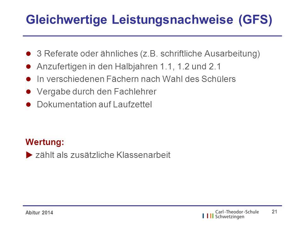 Abitur 2014 21 Gleichwertige Leistungsnachweise (GFS) l 3 Referate oder ähnliches (z.B. schriftliche Ausarbeitung) l Anzufertigen in den Halbjahren 1.