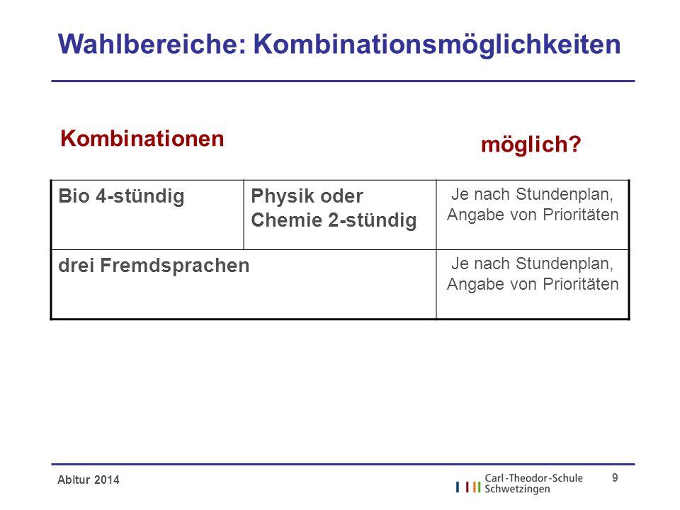 Abitur 2014 9 Wahlbereiche: Kombinationsmöglichkeiten möglich? Kombinationen Bio 4-stündigPhysik oder Chemie 2-stündig Je nach Stundenplan, Angabe von