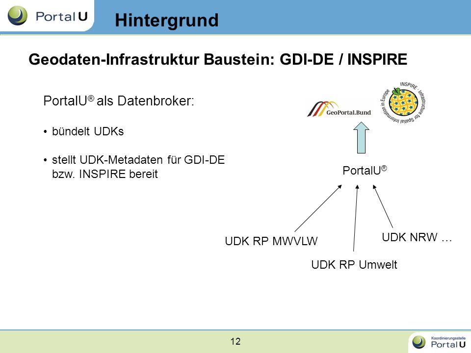 12 Geodaten-Infrastruktur Baustein: GDI-DE / INSPIRE PortalU ® als Datenbroker: bündelt UDKs stellt UDK-Metadaten für GDI-DE bzw. INSPIRE bereit Hinte