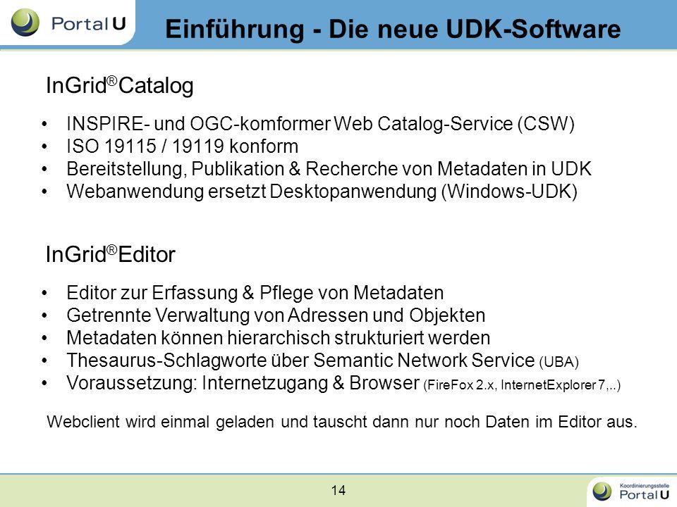 14 Einführung - Die neue UDK-Software InGrid ® Editor INSPIRE- und OGC-komformer Web Catalog-Service (CSW) ISO 19115 / 19119 konform Bereitstellung, P