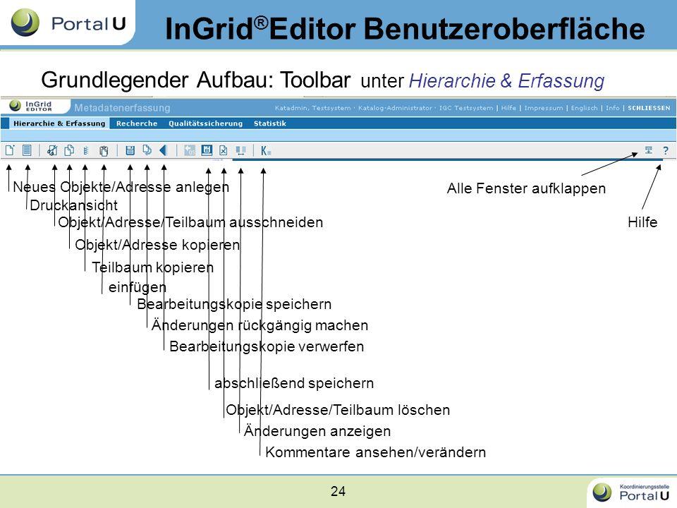 24 InGrid ® Editor Benutzeroberfläche Grundlegender Aufbau: Toolbar unter Hierarchie & Erfassung Neues Objekte/Adresse anlegen Druckansicht Objekt/Adr