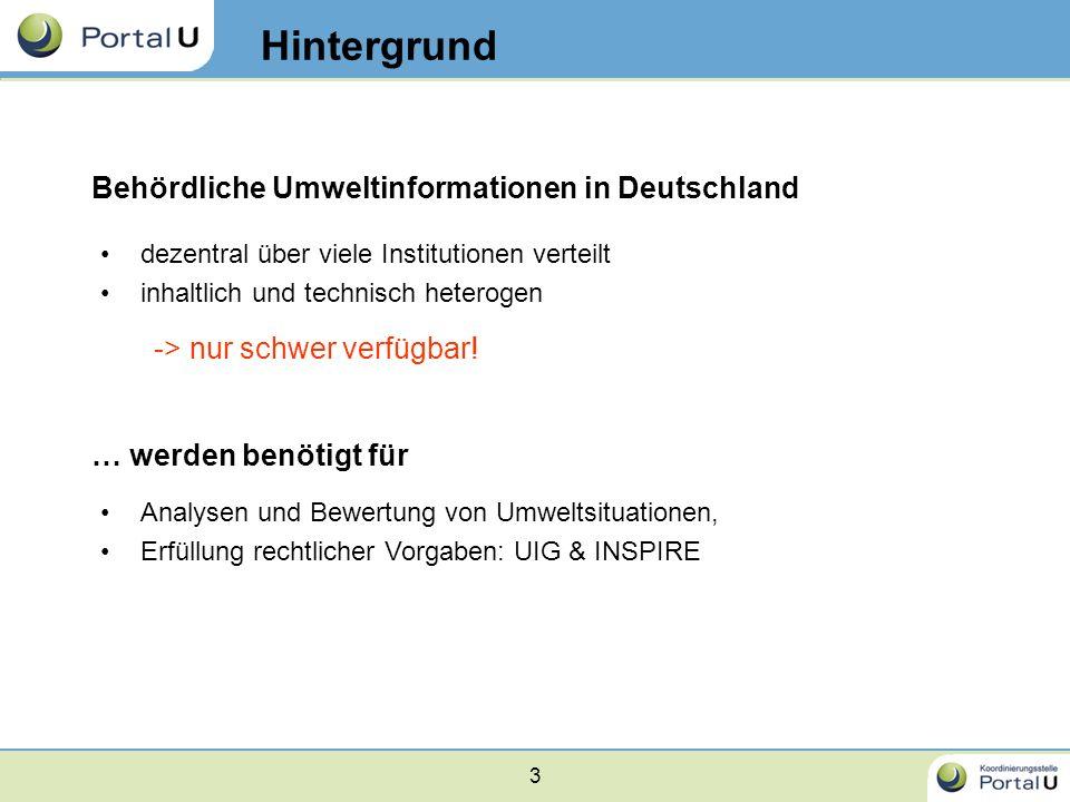 3 dezentral über viele Institutionen verteilt inhaltlich und technisch heterogen Behördliche Umweltinformationen in Deutschland -> nur schwer verfügba