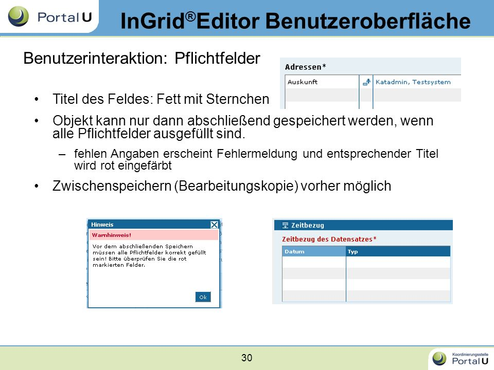 30 InGrid ® Editor Benutzeroberfläche Benutzerinteraktion: Pflichtfelder Titel des Feldes: Fett mit Sternchen Objekt kann nur dann abschließend gespei