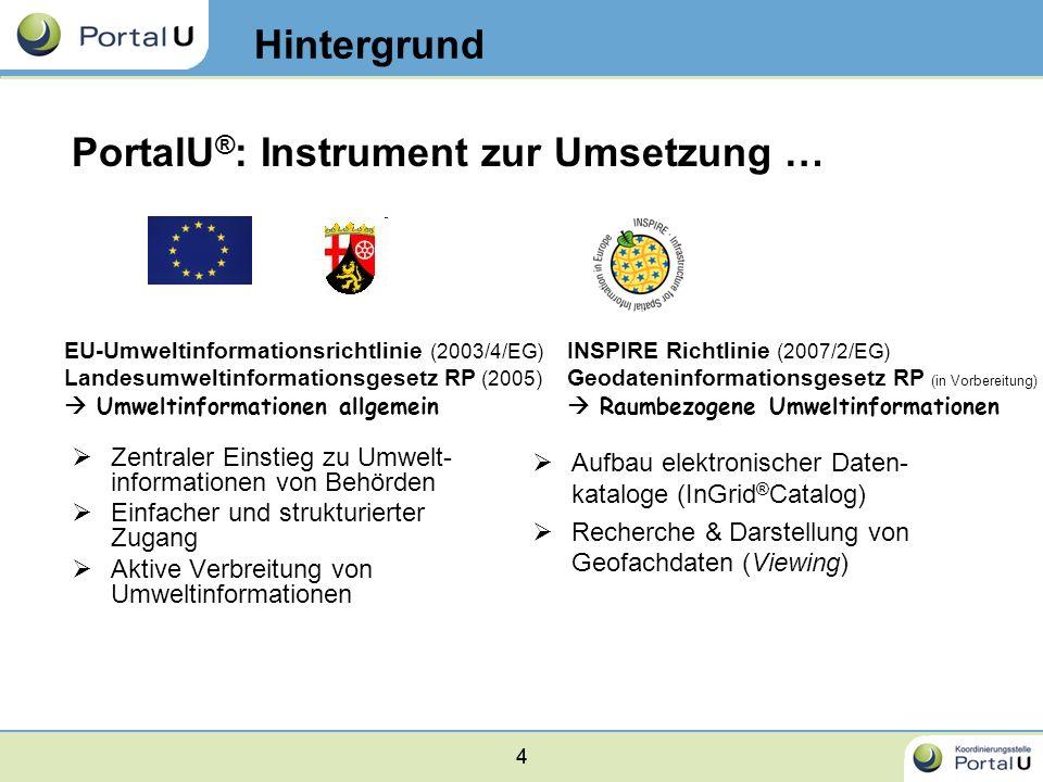 44 Zentraler Einstieg zu Umwelt- informationen von Behörden Einfacher und strukturierter Zugang Aktive Verbreitung von Umweltinformationen EU-Umweltin