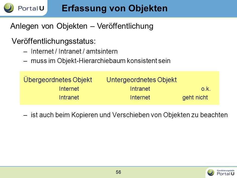 56 Veröffentlichungsstatus: –Internet / Intranet / amtsintern –muss im Objekt-Hierarchiebaum konsistent sein Übergeordnetes ObjektUntergeordnetes Obje
