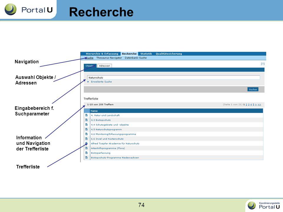 74 Recherche Navigation Auswahl Objekte / Adressen Eingabebereich f. Suchparameter Information und Navigation der Trefferliste Trefferliste