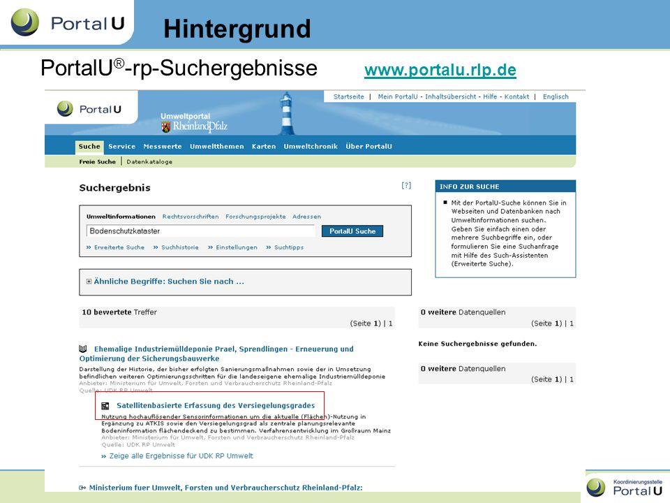 8 PortalU ® -rp-Suchergebnisse Hintergrund www.portalu.rlp.de