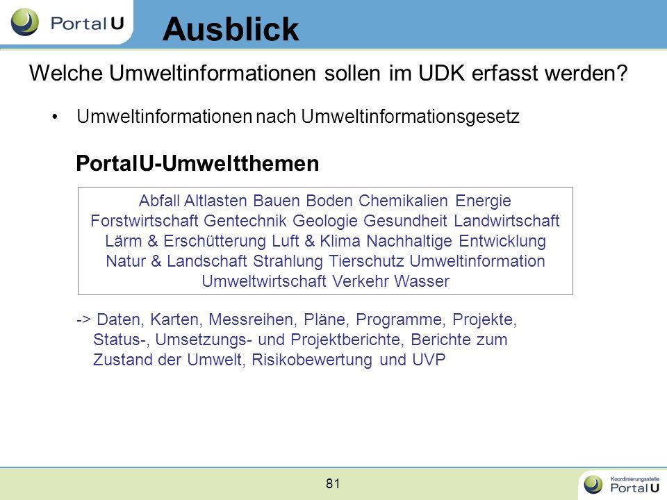 81 Umweltinformationen nach Umweltinformationsgesetz PortalU-Umweltthemen -> Daten, Karten, Messreihen, Pläne, Programme, Projekte, Status-, Umsetzung