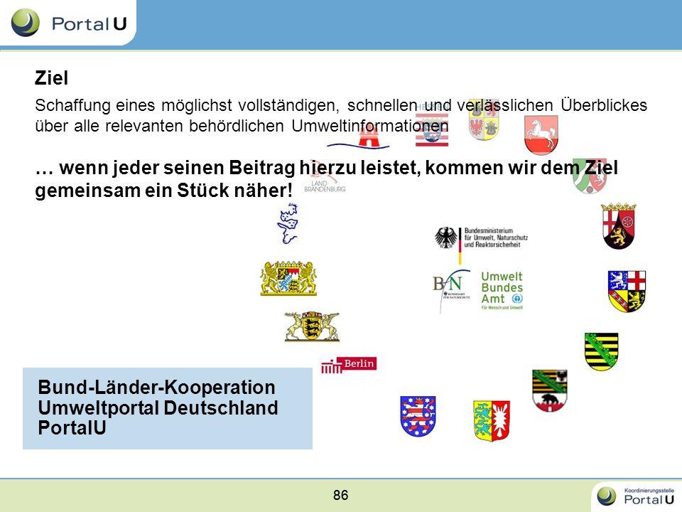 86 Bund-Länder-Kooperation Umweltportal Deutschland PortalU 86 Schaffung eines möglichst vollständigen, schnellen und verlässlichen Überblickes über a