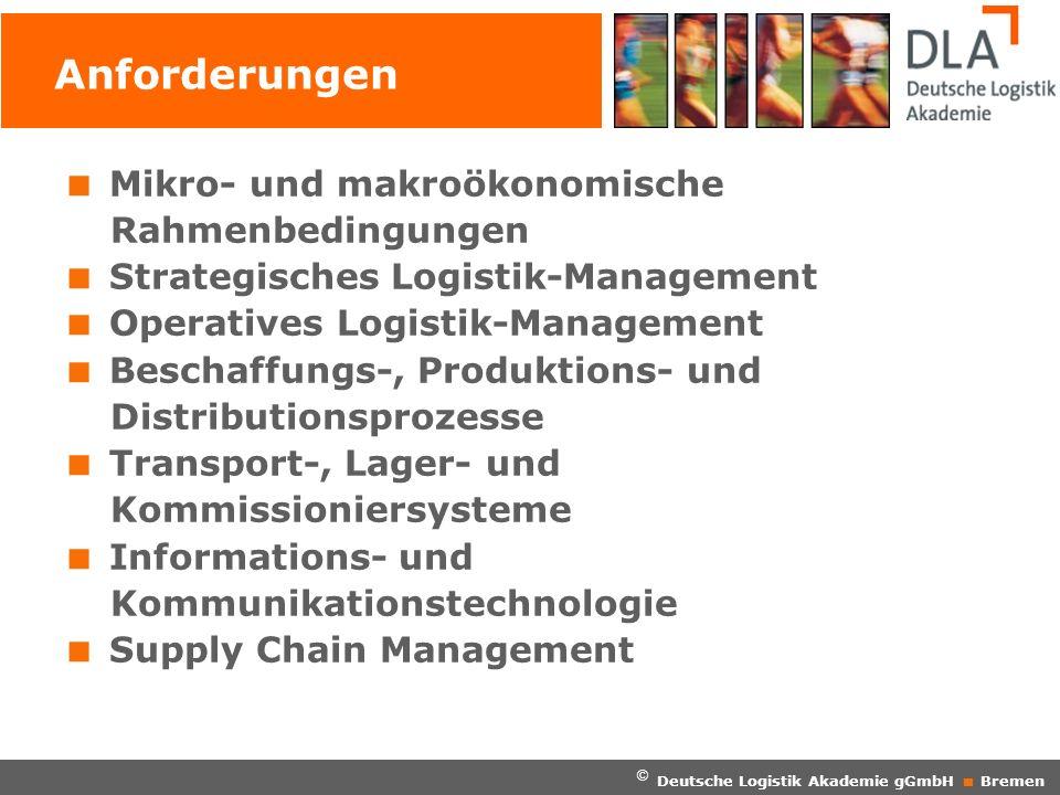 © Deutsche Logistik Akademie gGmbH Bremen Anforderungen Mikro- und makroökonomische Rahmenbedingungen Strategisches Logistik-Management Operatives Log