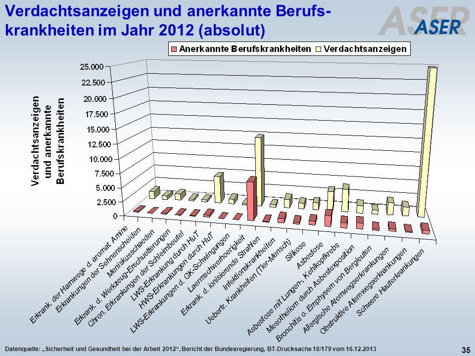 35 Datenquelle: Sicherheit und Gesundheit bei der Arbeit 2012, Bericht der Bundesregierung, BT-Drucksache 18/179 vom 16.12.2013 Verdachtsanzeigen und