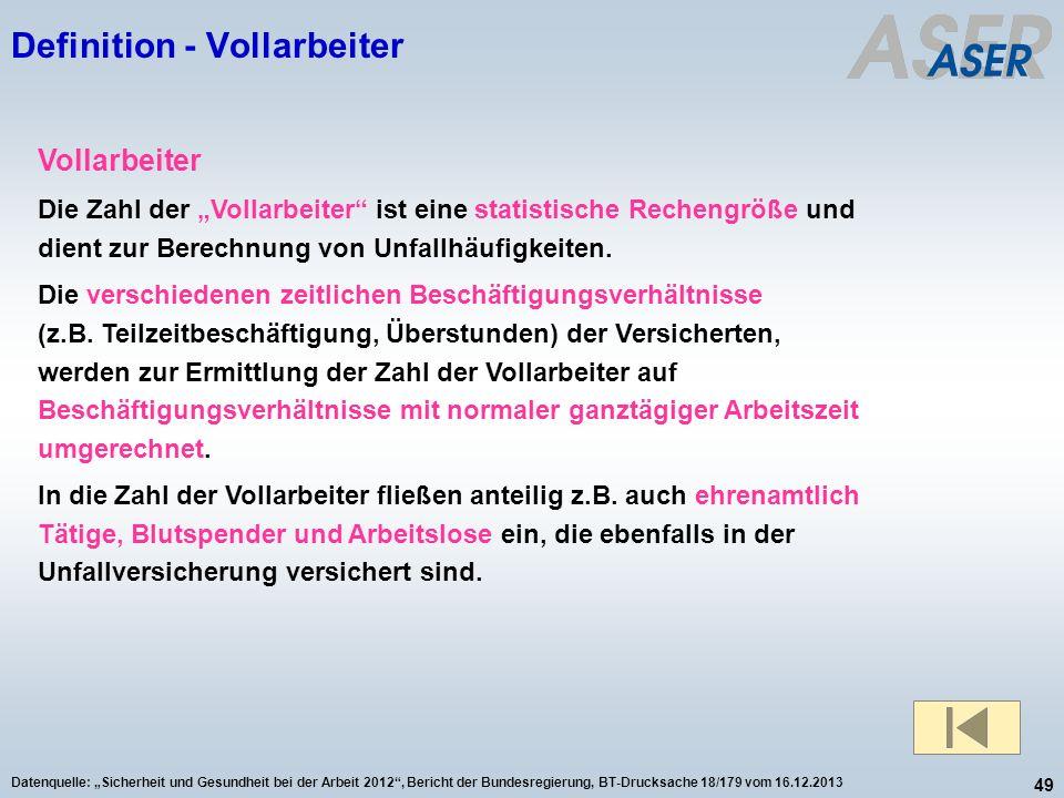 49 Datenquelle: Sicherheit und Gesundheit bei der Arbeit 2012, Bericht der Bundesregierung, BT-Drucksache 18/179 vom 16.12.2013 Definition - Vollarbei