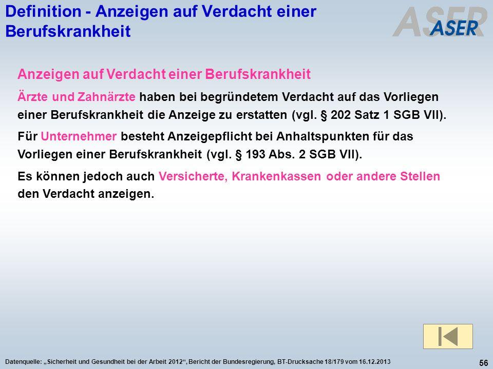 56 Datenquelle: Sicherheit und Gesundheit bei der Arbeit 2012, Bericht der Bundesregierung, BT-Drucksache 18/179 vom 16.12.2013 Anzeigen auf Verdacht