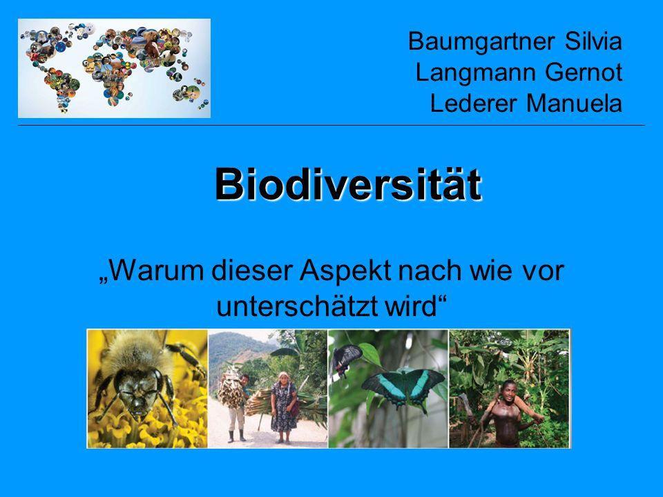 Biodiversität Bildet die Grundlage für Ökosysteme und die Leistungen, die diese zur Verfügung stellen Biodiversität erstreckt sich angefangen vom kleinsten genetischen Level bis zu ganzen Ökosystemen Für den Menschen essenziell die Menschen hängen von Biodiversität in ihrem täglichen Leben ab Für eine Vielzahl von Aspekten des menschlichen Lebens spielt Biodiversität eine tragende Rolle: –Nahrungsmittel, Naturfasern,… anerkannt –Aber es hängen auch noch andere Leistungen davon ab sind unterbewertet (Bakterien, Mikroben, Insekten, Korallenriffe, Mangroven,…)