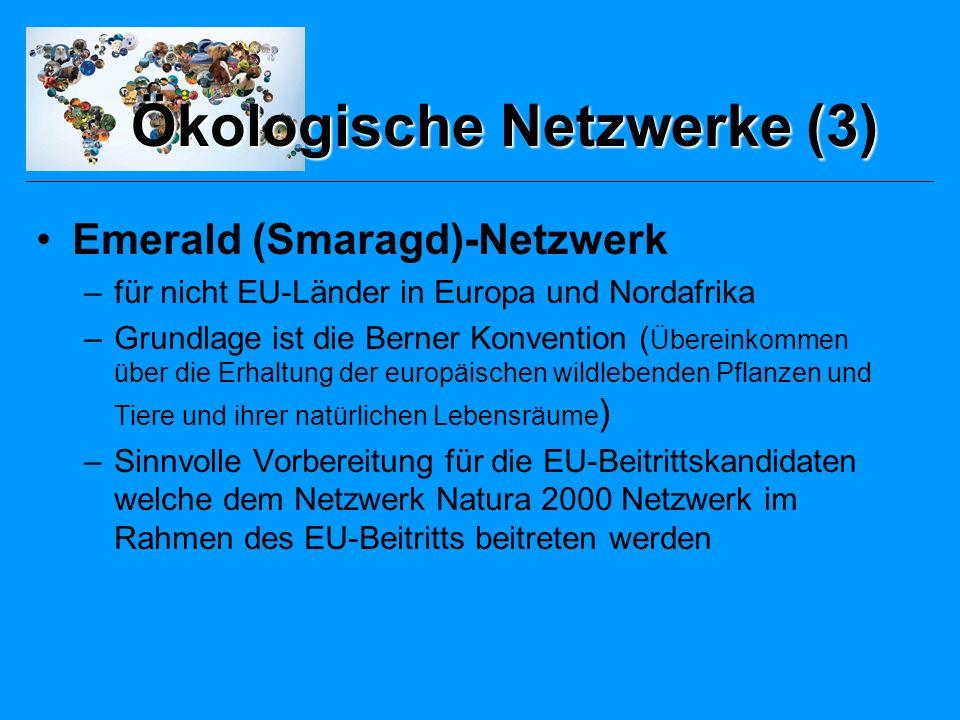 Emerald (Smaragd)-Netzwerk –für nicht EU-Länder in Europa und Nordafrika –Grundlage ist die Berner Konvention ( Übereinkommen über die Erhaltung der europäischen wildlebenden Pflanzen und Tiere und ihrer natürlichen Lebensräume ) –Sinnvolle Vorbereitung für die EU-Beitrittskandidaten welche dem Netzwerk Natura 2000 Netzwerk im Rahmen des EU-Beitritts beitreten werden Ökologische Netzwerke (3)