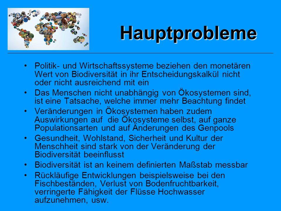 Einflussfaktoren (1) Habitatverlust: –Natürlichen Habitate –Artenvielfalt –Bodenqualität Invasive fremde Arten –Verlust der traditionellen vorhanden Ressourcen –Aussterben endemischer Arten –Genpool