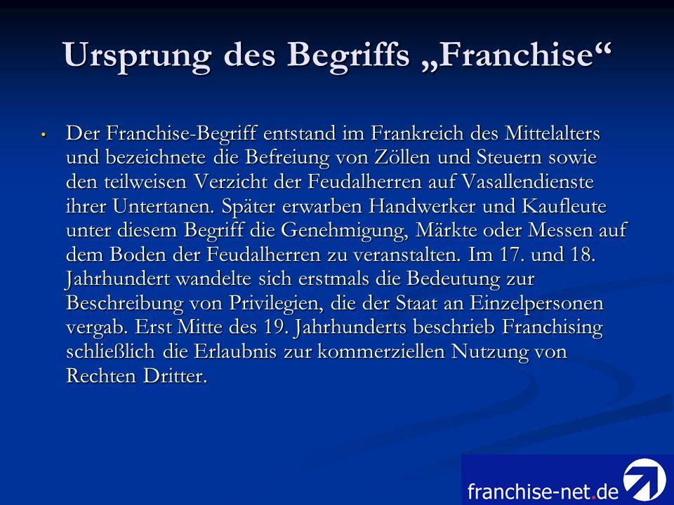 Ursprung des Begriffs Franchise Der Franchise-Begriff entstand im Frankreich des Mittelalters und bezeichnete die Befreiung von Zöllen und Steuern sow