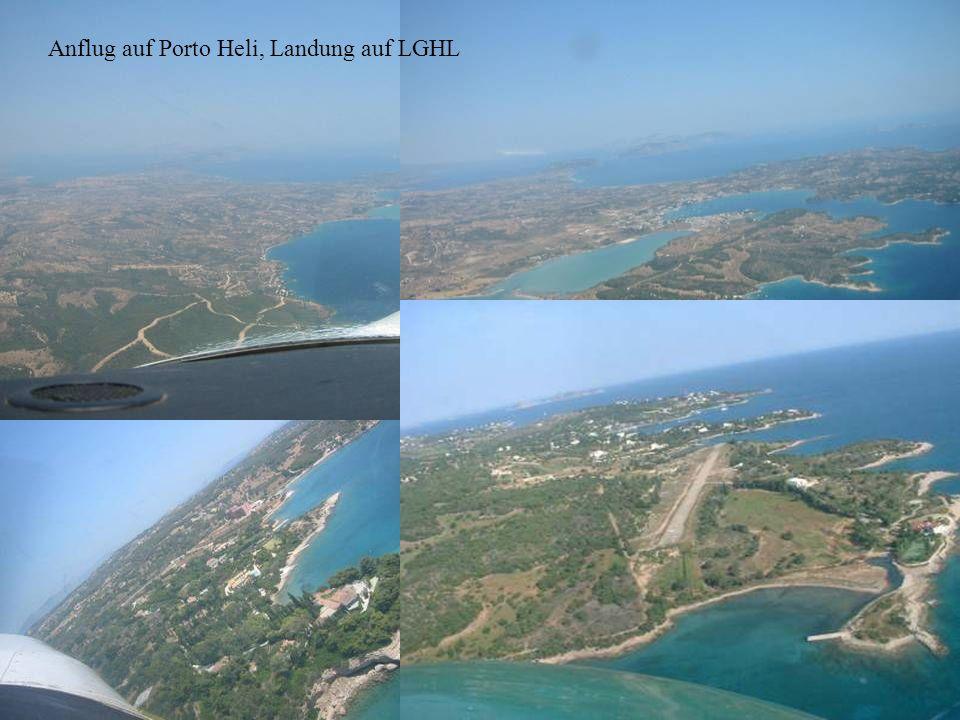 Anflug auf Porto Heli, Landung auf LGHL