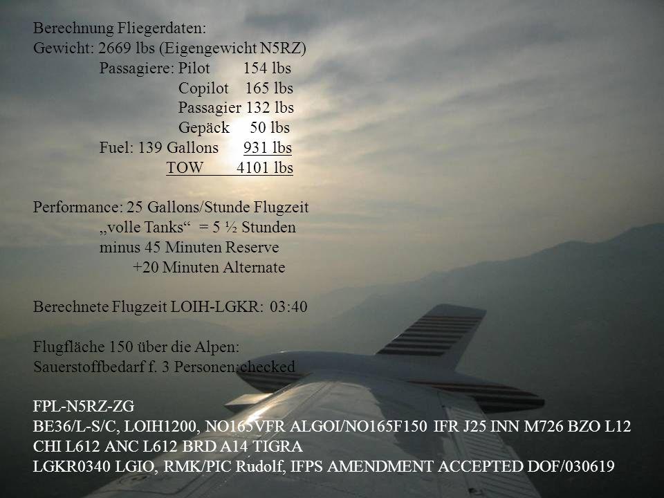 Berechnung Fliegerdaten: Gewicht: 2669 lbs (Eigengewicht N5RZ) Passagiere: Pilot 154 lbs Copilot 165 lbs Passagier 132 lbs Gepäck 50 lbs Fuel: 139 Gallons 931 lbs TOW 4101 lbs Performance: 25 Gallons/Stunde Flugzeit volle Tanks = 5 ½ Stunden minus 45 Minuten Reserve +20 Minuten Alternate Berechnete Flugzeit LOIH-LGKR: 03:40 Flugfläche 150 über die Alpen: Sauerstoffbedarf f.