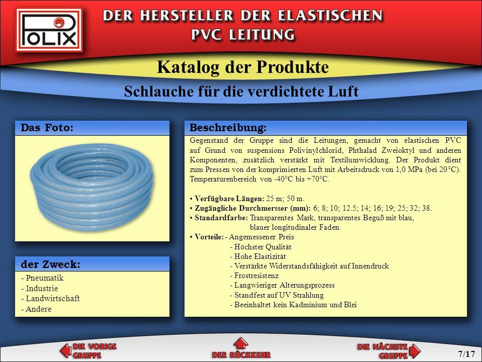 Schlauche für die verdichtete Luft Verlängerungen für die verdichtete Luft Schlauche für die verdichtete Luft Katalog der Produkte