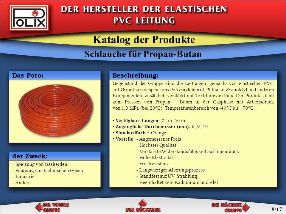 Schlauche für Propan-Butan Schlauche für Azetylen Schlauche für Sauerstoff Schlauche für technische Gasen Katalog der Produkte