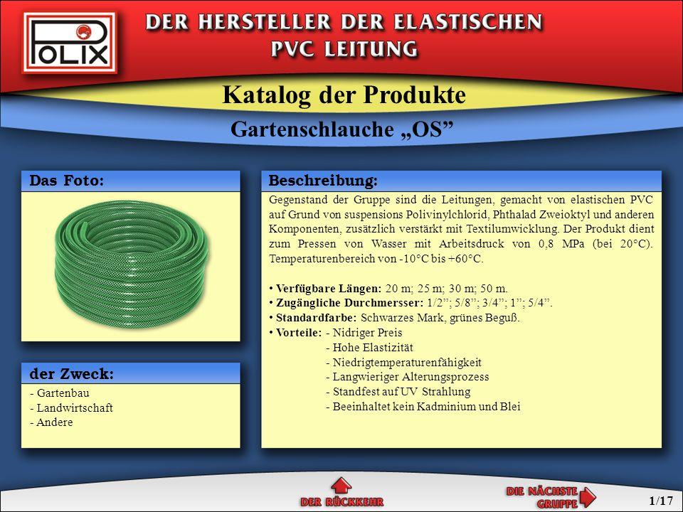 Gartenschlauche OS Gartenschlauche SPECIAL Gartenschlauche STANDARD die professionellen Gartenschlauche Gartenschlauche Katalog der Produkte