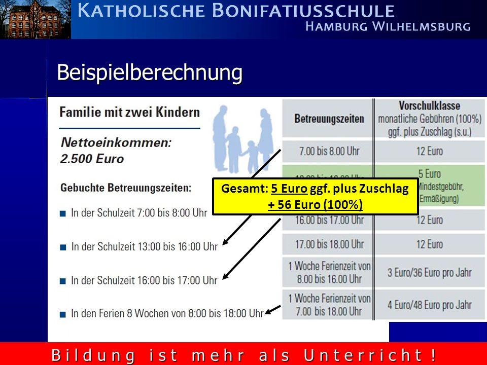 B i l d u n g i s t m e h r a l s U n t e r r i c h t ! Beispielberechnung = 32 Euro) Gesamt: 5 Euro ggf. plus Zuschlag + 56 Euro (100%)
