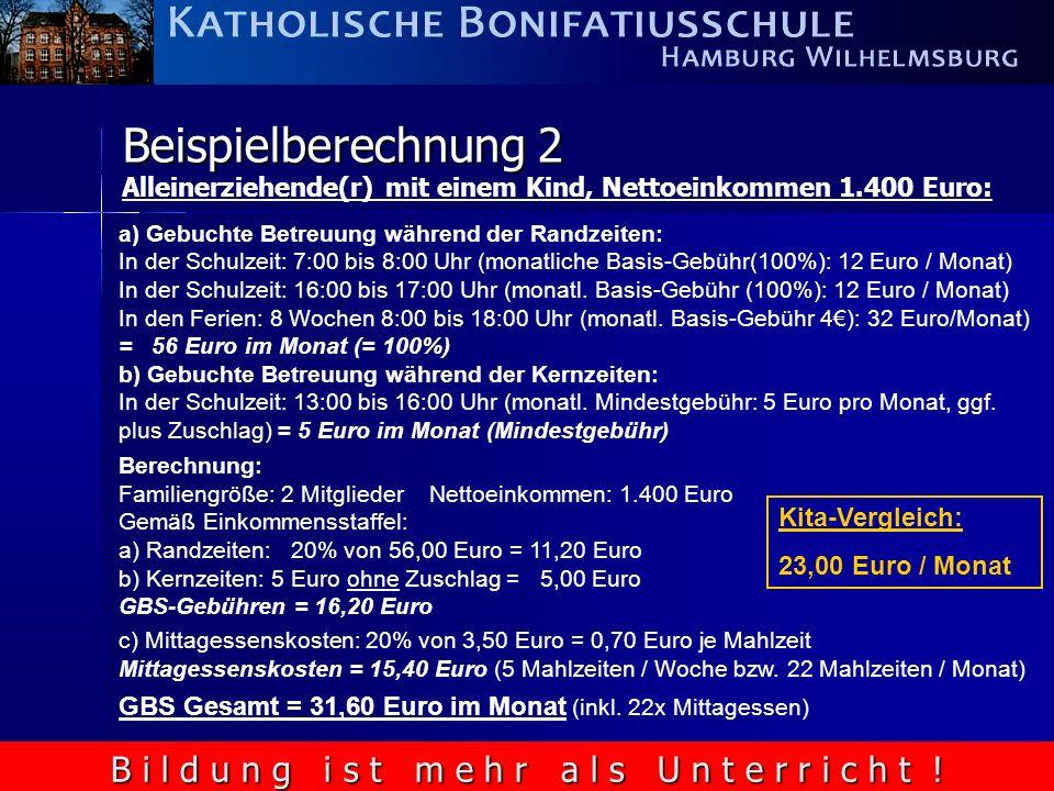 B i l d u n g i s t m e h r a l s U n t e r r i c h t ! Beispielberechnung 2 Alleinerziehende(r) mit einem Kind, Nettoeinkommen 1.400 Euro: a) Gebucht