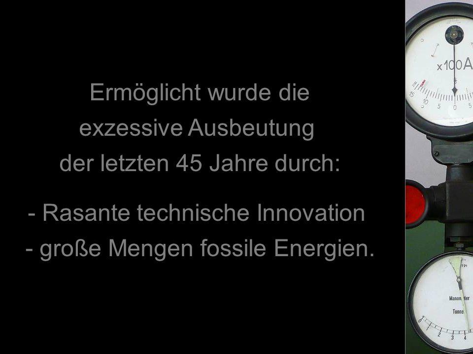 Ermöglicht wurde die exzessive Ausbeutung der letzten 45 Jahre durch: - Rasante technische Innovation - große Mengen fossile Energien.