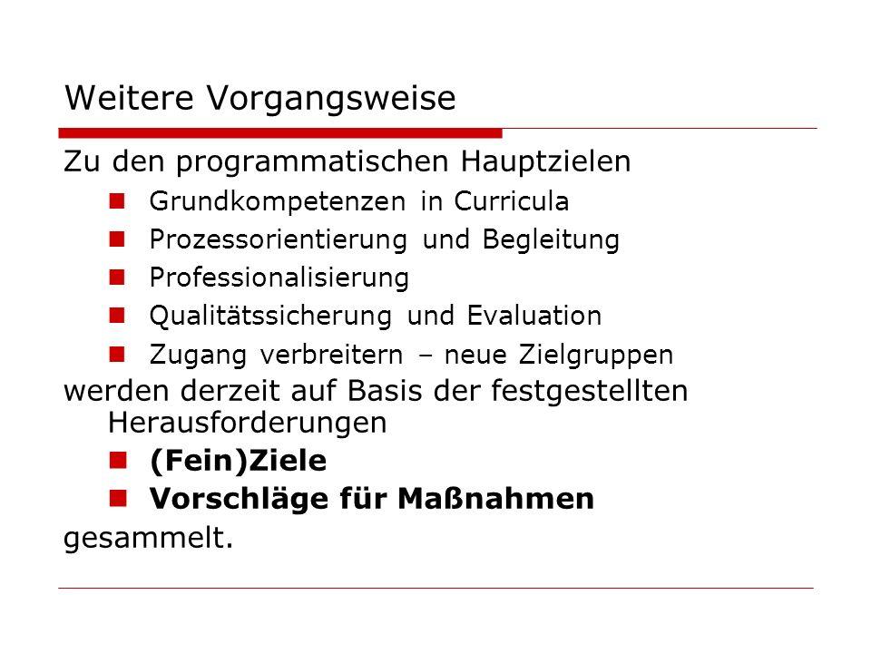 Weitere Vorgangsweise Zu den programmatischen Hauptzielen Grundkompetenzen in Curricula Prozessorientierung und Begleitung Professionalisierung Qualitätssicherung und Evaluation Zugang verbreitern – neue Zielgruppen werden derzeit auf Basis der festgestellten Herausforderungen (Fein)Ziele Vorschläge für Maßnahmen gesammelt.