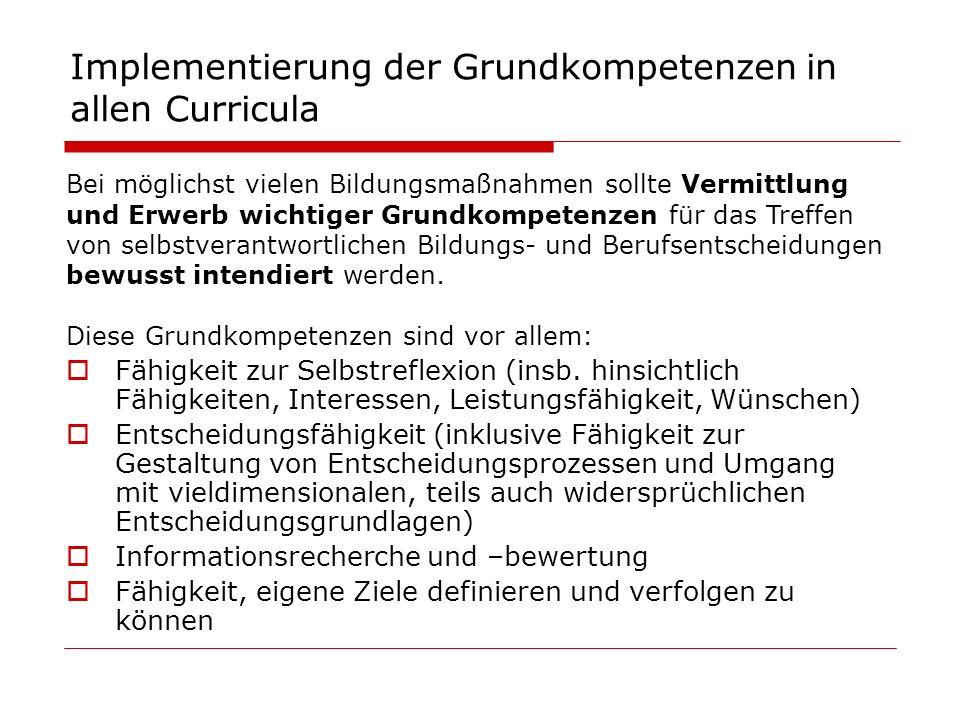 Implementierung der Grundkompetenzen in allen Curricula Bei möglichst vielen Bildungsmaßnahmen sollte Vermittlung und Erwerb wichtiger Grundkompetenzen für das Treffen von selbstverantwortlichen Bildungs- und Berufsentscheidungen bewusst intendiert werden.