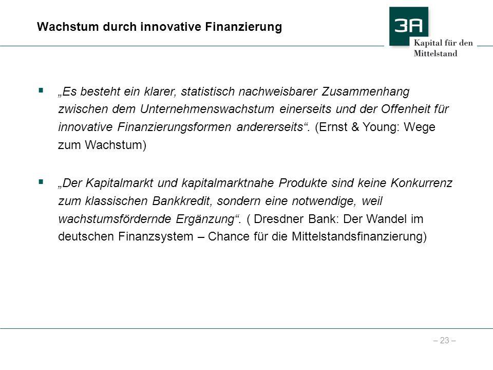 – 23 – Es besteht ein klarer, statistisch nachweisbarer Zusammenhang zwischen dem Unternehmenswachstum einerseits und der Offenheit für innovative Fin