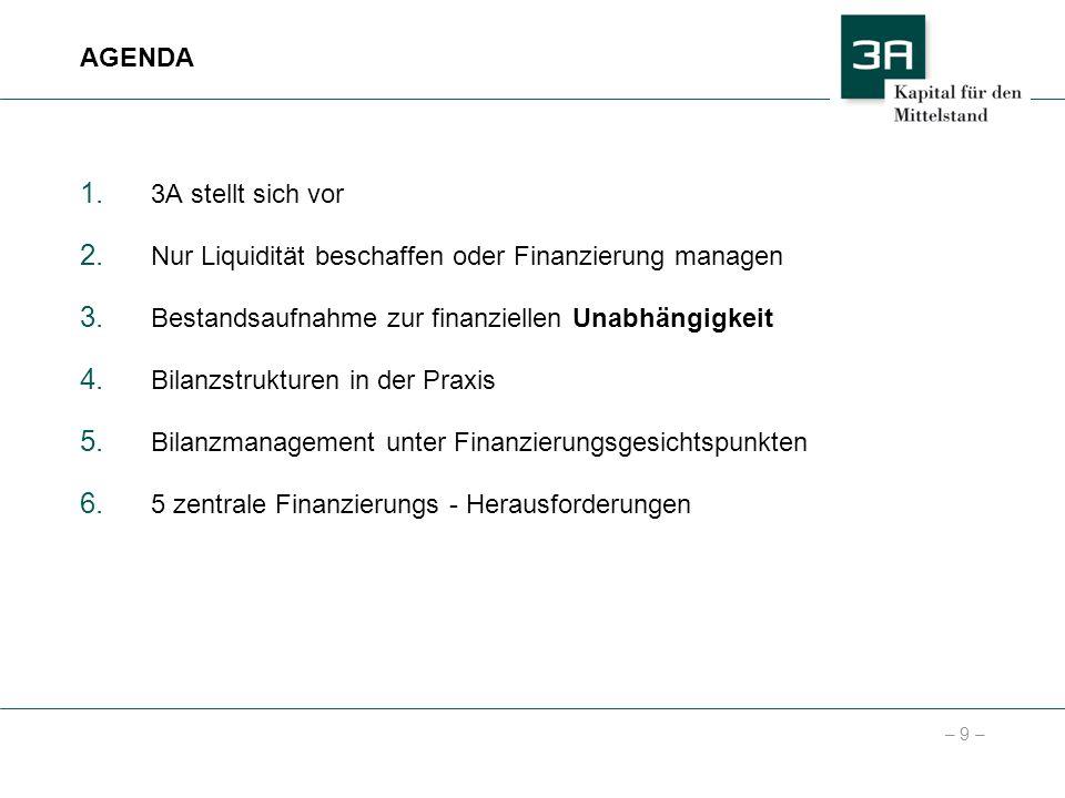 – 9 – 1. 3A stellt sich vor 2. Nur Liquidität beschaffen oder Finanzierung managen 3. Bestandsaufnahme zur finanziellen Unabhängigkeit 4. Bilanzstrukt