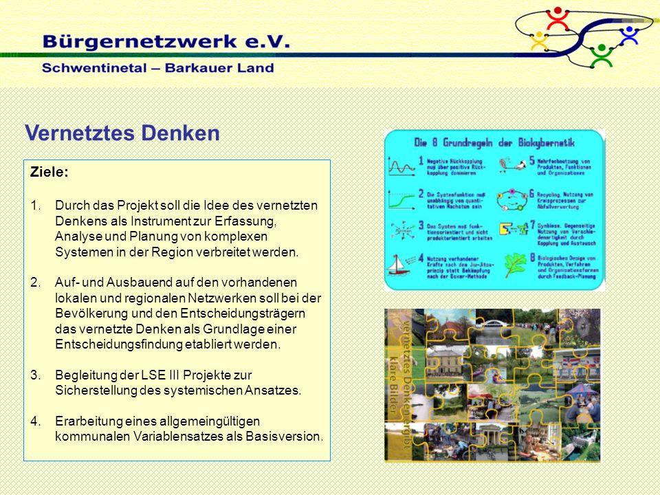 Vernetztes Denken Ziele: 1.Durch das Projekt soll die Idee des vernetzten Denkens als Instrument zur Erfassung, Analyse und Planung von komplexen Systemen in der Region verbreitet werden.