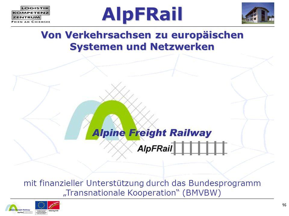 16 AlpFRail Von Verkehrsachsen zu europäischen Systemen und Netzwerken mit finanzieller Unterstützung durch das Bundesprogramm Transnationale Kooperation (BMVBW)