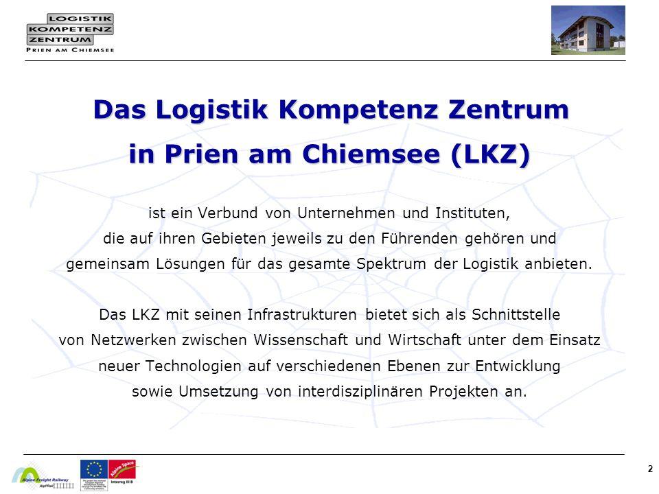 2 Das Logistik Kompetenz Zentrum in Prien am Chiemsee (LKZ) Das Logistik Kompetenz Zentrum in Prien am Chiemsee (LKZ) ist ein Verbund von Unternehmen und Instituten, die auf ihren Gebieten jeweils zu den Führenden gehören und gemeinsam Lösungen für das gesamte Spektrum der Logistik anbieten.