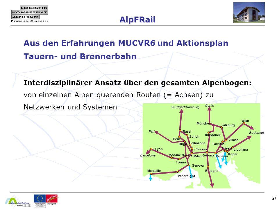27 Aus den Erfahrungen MUCVR6 und Aktionsplan Tauern- und Brennerbahn Interdisziplinärer Ansatz über den gesamten Alpenbogen: von einzelnen Alpen querenden Routen (= Achsen) zu Netzwerken und Systemen AlpFRail